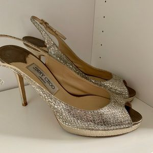 Jimmy Choo Linda Metallic Glitter Platform Sandal